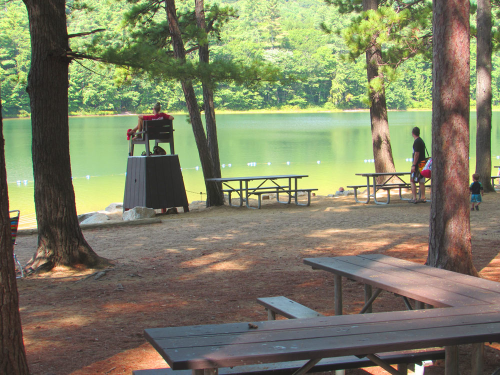 Life guard and picnic tables at Echo Lake State Park
