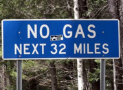 Kancamagus highway no gas sign