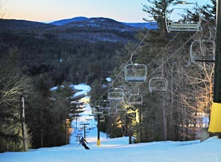 Ski and ride day and night at King Pine Ski Area in East Madison NH
